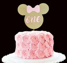 Custom Name Birthday Cake Topper Gold and pink Minnie