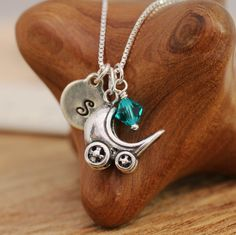 925 Sterling Silver Personalised Solid Baby Pram Pendant Necklace w Birthstone