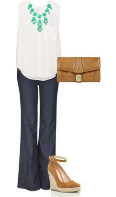 This is a great smart casual look for the summer. You can always dress up a plain white top and jeans. The wedge sandal is a little high, but they are not stilettos!