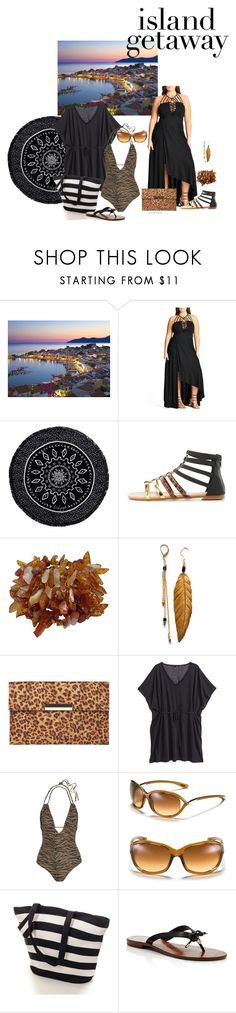 """Island hopping- plus size"" by gchamama ❤ liked on Polyvore featuring City Chic, The Beach People, Olivia Miller, Dorothy Perkins, H&M, Melissa Odabash, Tom Ford, Black, Kate Spade and islandgetaway"