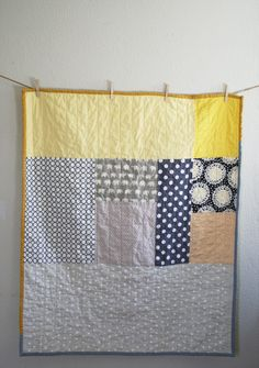 Elephants and dots crib size handmade quilt by NAMOO. $150.00, via Etsy.