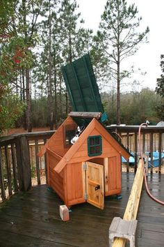 Duck House converted from a dog house kit. Perfect for 3 ducks or little ducklings.