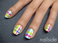 rainbow plaid nails- this would be cute on toes!