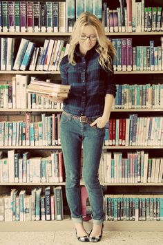 Kind of always wished I could do plaid like this!  She's nerdy-chic!