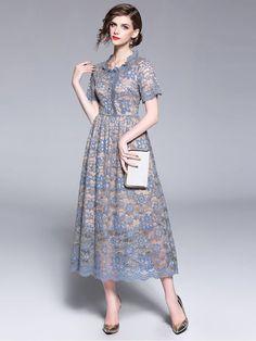 Vinfemass Lace Collar Solid Short Sleeve Long Evening Dress