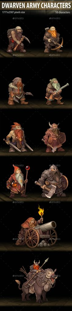 Dwarven Army Characters by a-ravlik | GraphicRiver Fantasy Dwarf, Pixel Size, Mythical Creatures Art, Cg Art, Game Assets, The Hobbit, Troops, Monsters, Characters
