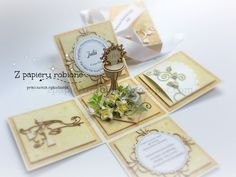 exploding box na komunię świętą Exploding Boxes, First Communion, Place Cards, Gift Wrapping, Place Card Holders, Gifts, Diy, Confirmation, Google
