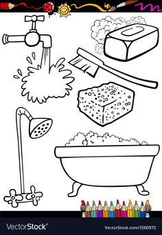 Health: cartoon hygiene objects coloring page - stock illustration Coloring Books, Coloring Pages, Busy Book, Kids Education, Life Skills, Wall Murals, Preschool, Teaching, Activities
