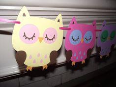 owl garland/bunting/banner,nursery decoration,baby shower, girl birthday, 1st birthday, owl decorations, owl birthday. owl theme via Etsy