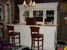 2.6m Solid Mahogany Pub Bar Counter & Back, in White, Drinks Home Wine Cocktail
