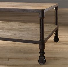 DUTCH INDUSTRIAL COFFEE TABLES $795 - $1395 SPECIAL $675 - $1185 Our distressed table pairs the warmth of aged elm with warm, aged metal frames for an industrial, imperfect look.