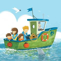 boat close up . Boat Illustration, Balloon Illustration, People Illustration, Cartoon Drawings, Animal Drawings, Cute Drawings, Kids Boat, Underwater Painting, Envelope Art