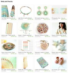 Minty and Peachy from http://www.etsy.com/treasury/MTk5NDcyOTl8MjcyMzA1MjU0NA/minty-and-peachy
