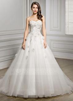 [€ 219.86] Duchesse-Linie Herzausschnitt Kapelle-schleppe Tüll Brautkleid mit Perlen verziert Blumen Pailletten (002056469)