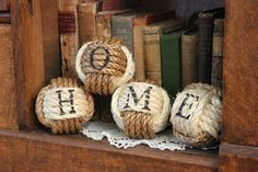 Rustic Western Home Sign - Nautical rope balls - set of 4 rope knots - rope home decor - monkey fist knots - rustic vase filler by highplainsknotwork on Etsy https://www.etsy.com/listing/223754923/rustic-western-home-sign-nautical-rope                                                                                                                                                                                 More