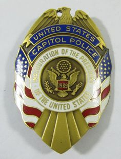"""Lot 304 in the 9.3.13 auction! 1989 US (George Bush) Presidential Inauguration USCP (United States Capitol Police) badge is a great find for any collector of political Americana. Reads """"United States Capitol Police, Inauguration of the President of the United States."""" Enameling and raised designs. #USA #Eagle #POTUS #POGAuctions"""