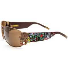 1e9131dba8 Ed Hardy Ehs-034 Crunk Rock Cocoa  Brown Sunglasses