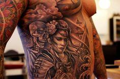 Tattoo fighter with skeleton   #Tattoo, #Tattooed, #Tattoos