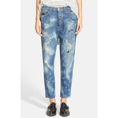 The Great 'The Mister Slouch' Hand Painted Distressed Boyfriend Jeans (€330) ❤ liked on Polyvore featuring jeans, worn grey wash, paint splatter jeans, torn jeans, zipper jeans, destructed jeans and grey jeans