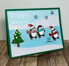 Happy Holidays Penguins - Scrapbook.com