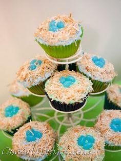 bird nest cupcakes for baby shower.