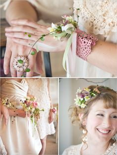 love this hairpiece and bridesmaid bouquet... from 'the wedding chicks blog'