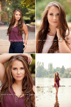 Oregon senior pictures with high school senior photographer for the Young & Free, Holli True, in a natural park with trees and a river.