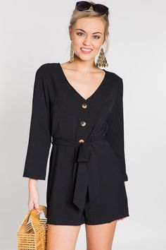 4adf0439881a1 Buttoned Up Romper    NEW ARRIVALS    The Blue Door Boutique