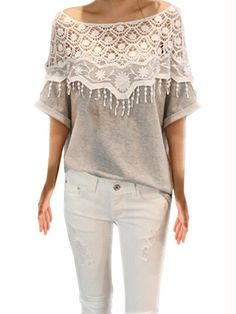 Gray Lace Hollow Out Stitching Bat Sleeve Cotton Blouse For Female