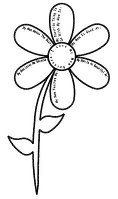 Mother's Day Flower Printable - Write in all of the things you love about your mom!