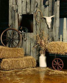 rope, horns, hay, large vase, wheel, cart