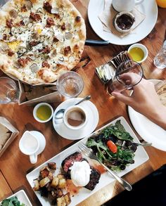 """BONNIE TSANG on Instagram: """"Yesterday's brunch spread (just 1/3 of it) @terronila - Pizza Norcina (white pizza w/ burrata, mascarpone, sausage, egg and black truffles), Bistecca con l'Uovo (grilled beef flat iron steak, poached and pan seared egg), beer, coffee, emptied bread bags... // #terronidtla #bonnietsanglaeats #bonnieeatsfor2"""""""