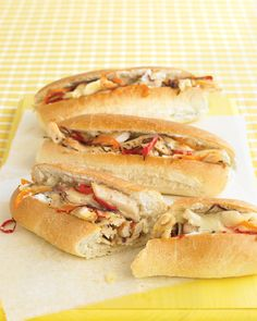 Fire up the broiler to make these hearty chicken cutlet sandwiches piled with sweet bell peppers and red onion. Melt provolone cheese over the top of the chicken and vegetables and serve on soft hoagie rolls spread with light mayonnaise.