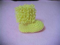 Πλεκτα Μποτακια / Loop Stitch Booties Crochet Tutorial