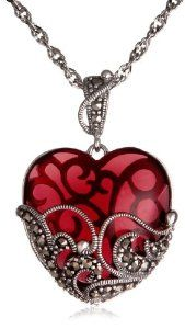Sterling Silver Marcasite and Gemstone Colored Glass Heart Pendant Necklace