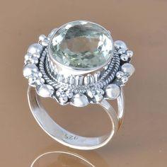 GREEN AMETHYST 925 SOLID STERLING SILVER EXCLUSIVE RING 6.88g DJR7406 #Handmade #Ring