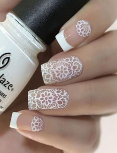 Elegant Nail Designs, Winter Nail Designs, Short Nail Designs, Nail Art Designs, White Lace Nails, Lace Nail Art, Classy Nail Art, Cool Nail Art, Simple Nails Design