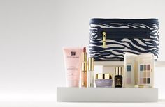 Estee Lauder Safari-inspired cosmetics bag and six deluxe travel-size are: Soft Clean Tender Creme Cleanser
