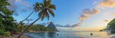 Caribbean, St Lucia, Soufriere, Soufriere Bay, Soufriere Beach and Petit Piton Photographic Print by Alan Copson at Art.com