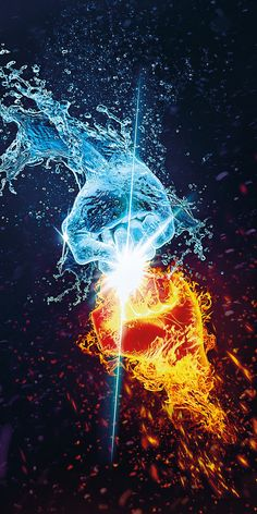 Flame and water, fists, hands, fantasy, wallpaper Fire And Ice Wallpaper, Dark Wallpaper, Galaxy Wallpaper, Arte Yin Yang, Yin Yang Art, Best Iphone Wallpapers, Gaming Wallpapers, Foto Fantasy, Fantasy Art