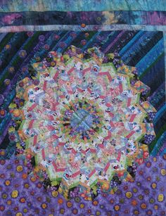 """Beautiful Flying Citrus Kimono Life by Gefilte Quilt: """"After I acquired a Marilyn Doheney wedge-shaped ruler, well, no strip set was safe - I cut wedges on a slant, and next thing you know, I had this."""""""