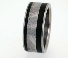 Meteorite Ring with Wood inlay on Titanium Band.
