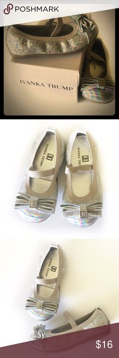 ✨Adorable Flats✨ Adorable little Flats by Ivanka Trump. They have an elastic foot strap and rubber soles. They do have a couple very light scratches to the toe part but you can't notice with the iridescent toe part, just worth mentioning. Excellent Used Condition Ivanka Trump Shoes Dress Shoes