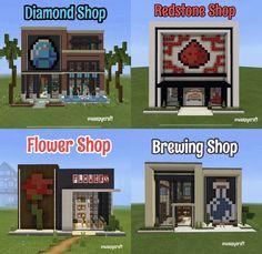 Minecraft Shops, Minecraft Cottage, Minecraft Banners, Minecraft House Tutorials, Cute Minecraft Houses, Minecraft House Designs, Minecraft Decorations, Amazing Minecraft, Minecraft Tutorial