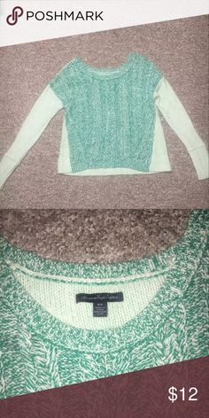 American Eagle Women's Medium Sweater Beautiful blue/green chunky knit sweater. very warm and cute. no sign of wear, in great condition! smoke free home. American Eagle Outfitters Sweaters Crew & Scoop Necks