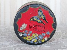 Vintage LaJaynees Powder Poudre Box  Some Contents by KISoriginals, $59.00
