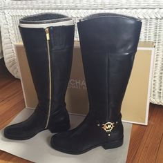 "NEW- Michael Kors Fulton Harness Boots in Black. NEW- Never Worn- Michael Kors Fulton Harness Boots in Black Vacheta Leather. Size 9. I got them from my hubby for Christmas 2015 and because I was pregnant I couldn't wear them. They don't fit. NEVER USED. Measurements: Heel Height: 1 1⁄4"", Weight: 1 lb 9 oz, Circumference: 15 1⁄4"", Shaft: 17"". Comes with Box. MICHAEL Michael Kors Shoes Winter & Rain Boots"