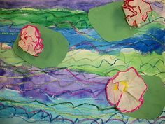 Kindergarten Monet pond picture collage from we heart art blog...I did something like this and they collaged fish, they were really cute.