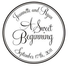 Sweet Beginnings Rubber Stamp for Personalized Custom Wedding Favors and decor. $28.95, via Etsy.