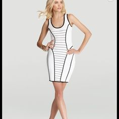 Milly bodycon dress Milly white contrast trim sleeveless sweaterdress. Figure hugging and flattering, this high contrast style is an update take on the classic white dress. Pullover style, scoop neck, unlined. Some of the stitching on a hip seam in the back of the dress has unraveled but could be easily fixed by a tailor ( see pictures). Size P/XS. Milly Dresses